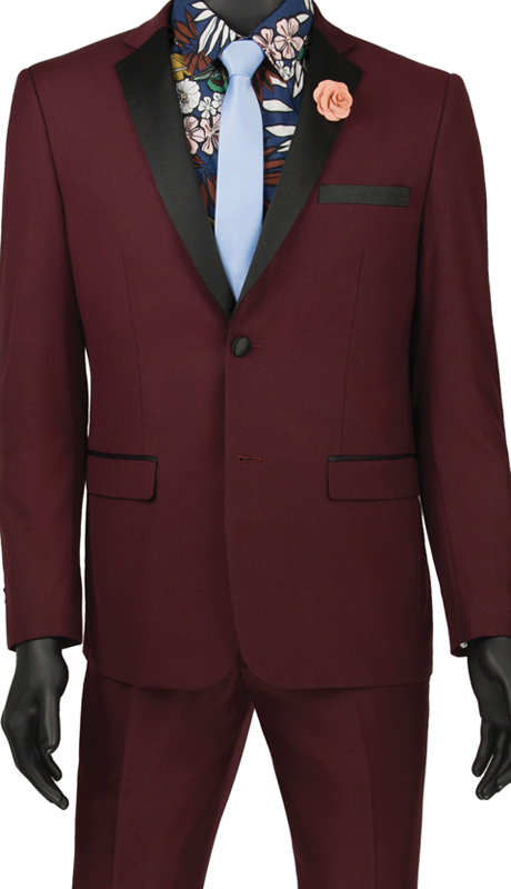 Vinci Mens Suit T-US900 Wine ( 2pc Tuxedo Single Breasted 2 Buttons, Side Vents, Flat Front Pants )