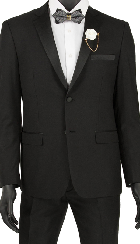 Vinci Mens Suit T-US900 Black ( 2pc Tuxedo Single Breasted 2 Buttons, Side Vents, Flat Front Pants )