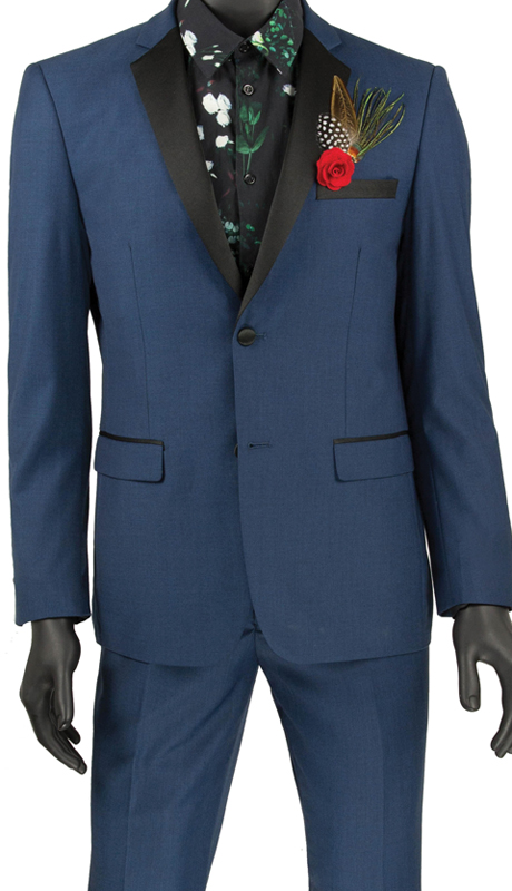 Vinci Mens Suit T-US900 Blue ( 2pc Tuxedo Single Breasted 2 Buttons, Side Vents, Flat Front Pants )
