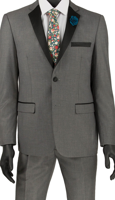 Vinci Mens Suit T-US900 Gray ( 2pc Tuxedo Single Breasted 2 Buttons, Side Vents, Flat Front Pants )