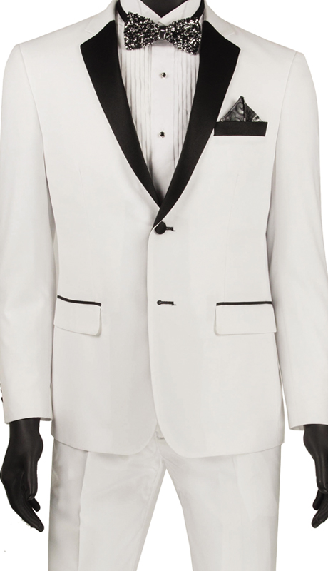 Vinci Mens Suit T-US900 White ( 2pc Tuxedo Single Breasted 2 Buttons, Side Vents, Flat Front Pants )