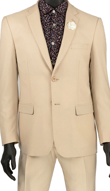 Vinci Mens Suit US900-2 Beige ( 2pc Single Breasted 2 Buttons, Side Vents, Flat Front Pants )