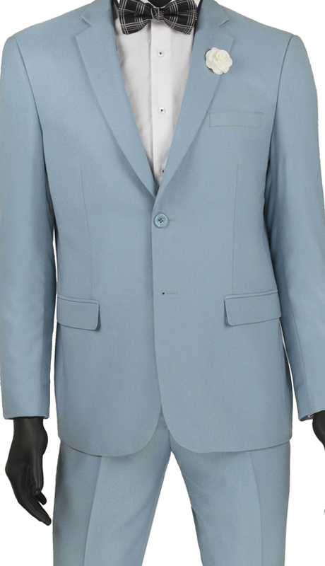 Vinci Mens Suit US900-2 Pale Blue ( 2pc Single Breasted 2 Buttons, Side Vents, Flat Front Pants )