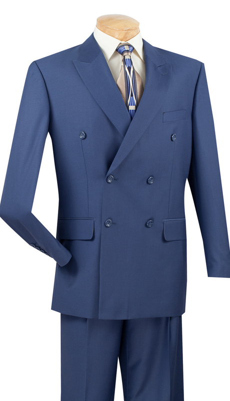 Vinci Mens Suit DC900-1-B ( 2pc Double Breasted, 6x2, Side Vents, Pleated Pant, Solid Color )