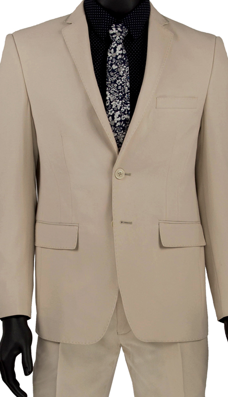 Vinci Mens Suit USRR-1 Beige   ( 2pc Single Breasted 2 Button Suit With Trimmed Notch Lapel, Side Vents, Flat Front Pants )