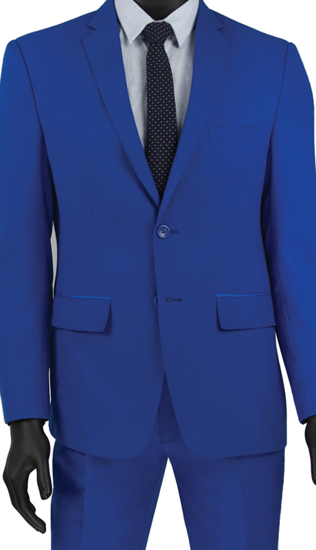 Vinci Mens Suit USRR-1 Blue   ( 2pc Single Breasted 2 Button Suit With Trimmed Notch Lapel, Side Vents, Flat Front Pants )