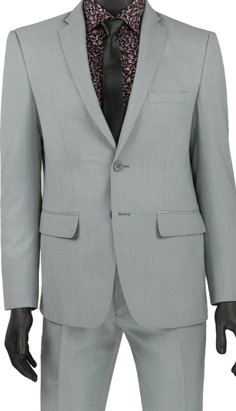 Vinci Mens Suit USRR-1 Gray ( 2pc Single Breasted 2 Button Suit With Trimmed Notch Lapel, Side Vents, Flat Front Pants )