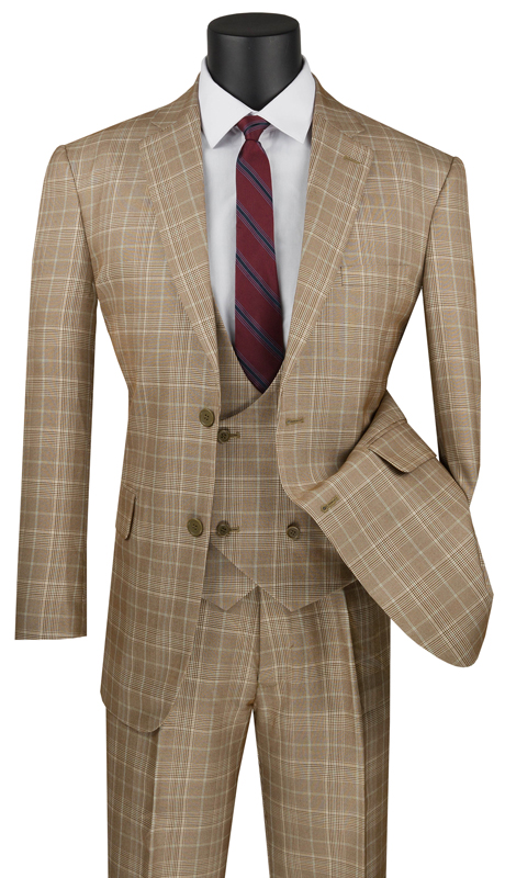 Vinci Mens Suit V2RW-7-CA ( 3pc Single Breasted 2 Buttons, With Shawl Collar Vest, Side Vents, Single Pleated Pants And Window Pane )