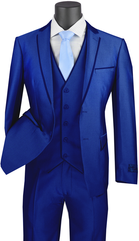 Vinci Mens Suit USVD-2-BL ( 3pc Single Breasted 2 Buttons With Trimmed Lapel, Side Vents And Flat Front Pants )