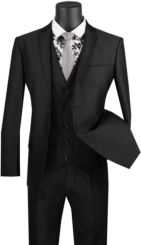 Vinci Mens Suit USVD-2-BK ( 3pc Single Breasted 2 Buttons With Trimmed Lapel, Side Vents And Flat Front Pants )