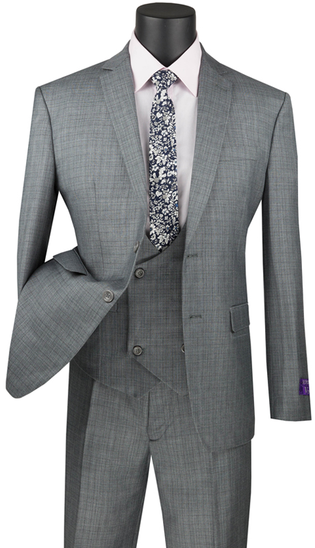 Vinci Mens Suit SV2W-5-MG ( 3pc Single Breasted 2 Buttons With Low Cut Double Breasted Vest, Side Vents, Flat Front Pants, Glen Plaid )