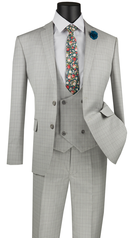 Vinci Mens Suit SV2W-5-IC ( 3pc Single Breasted 2 Buttons With Low Cut Double Breasted Vest, Side Vents, Flat Front Pants, Glen Plaid )