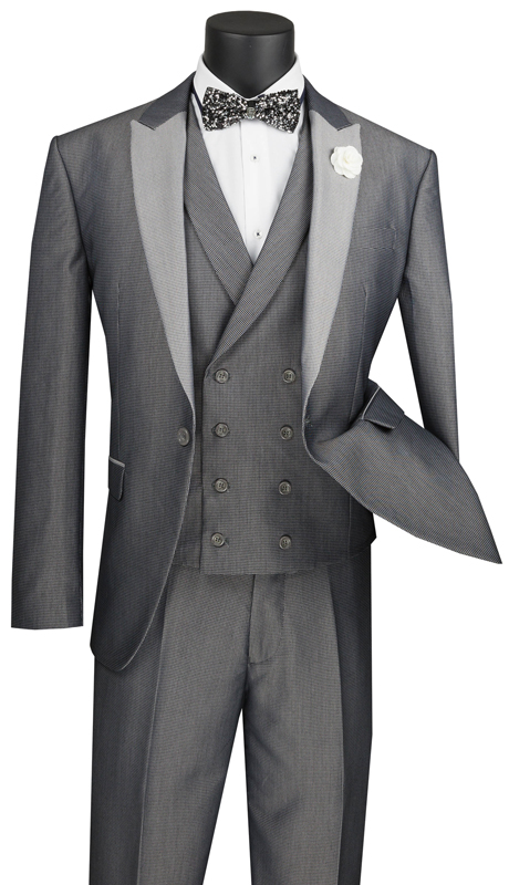 Vinci Mens Suit SV2R-6-SI ( 3pc Single Breasted 1 Button With Peak Lapel And Double Breasted Vest, Side Vents, Flat Front Pants With Jacquard Pattern )