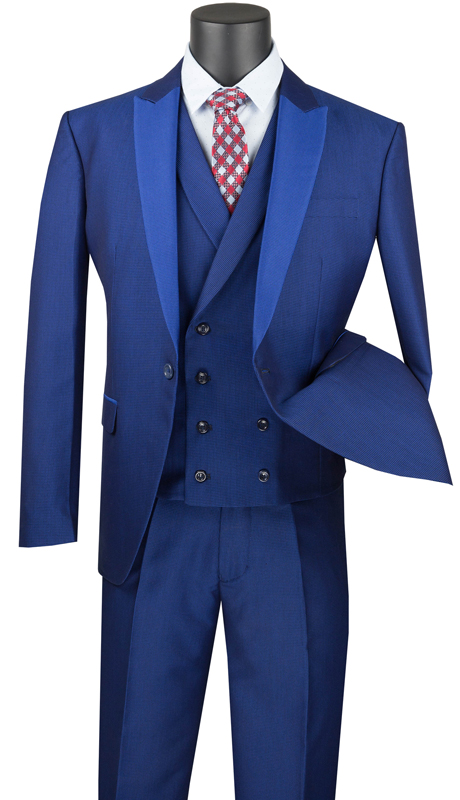 Vinci Mens Suit SV2R-6-BL ( 3pc Single Breasted 1 Button With Peak Lapel And Double Breasted Vest, Side Vents, Flat Front Pants With Jacquard Pattern )