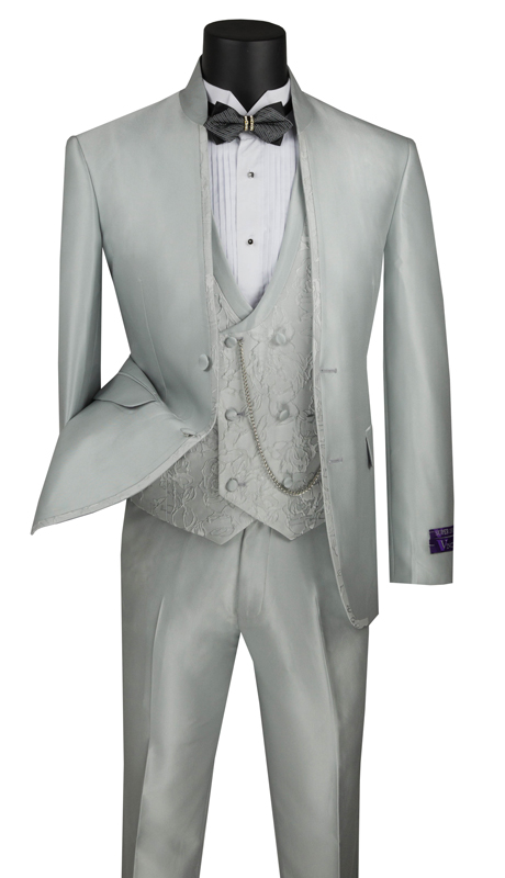 Vinci Mens Suit SV2HT-1-SI ( 3pc Sharkskin Single Breasted 2 Buttons With Banded Collar, Floral Vest, Side Vents And Flat Front Pants )