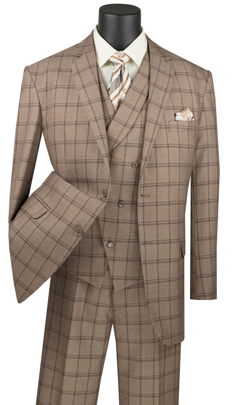 Vinci Mens Suit V2RW-12-KH ( 3pc Single Breasted 2 Buttons, With Shawl Collar Vest, Side Vents, Single Pleated Pants And Window Pane )