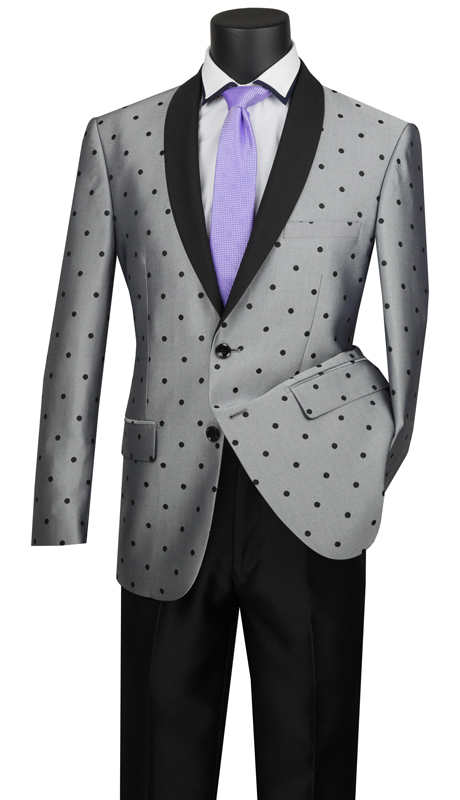 Vinci Mens Suit S2DR-5-SI ( 2pc Single Breasted, Two Buttons, Shawl Lapel, Side Vents, Flat Front Pants, Polka-Dot Pattern )