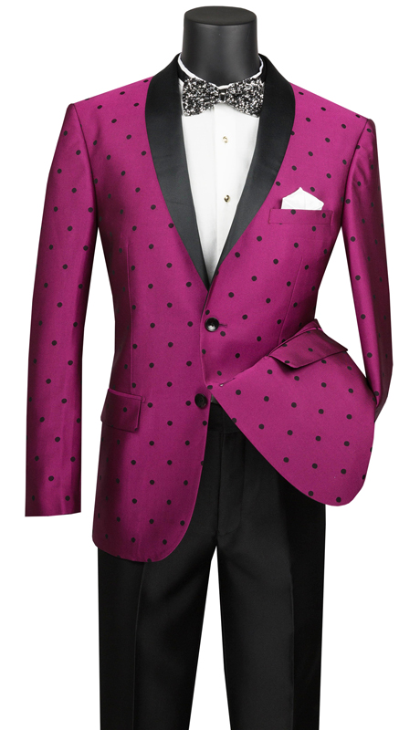 Vinci Mens Suit S2DR-5-FU ( 2pc Single Breasted, Two Buttons, Shawl Lapel, Side Vents, Flat Front Pants, Polka-Dot Pattern )