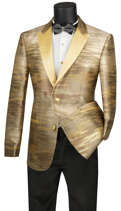 Vinci Mens Coat BSM-1-GO ( 1pc Single Breasted 2 Button Sport Coat With Peak Lapel, Side Vents And Fancy Metallic Pattern )
