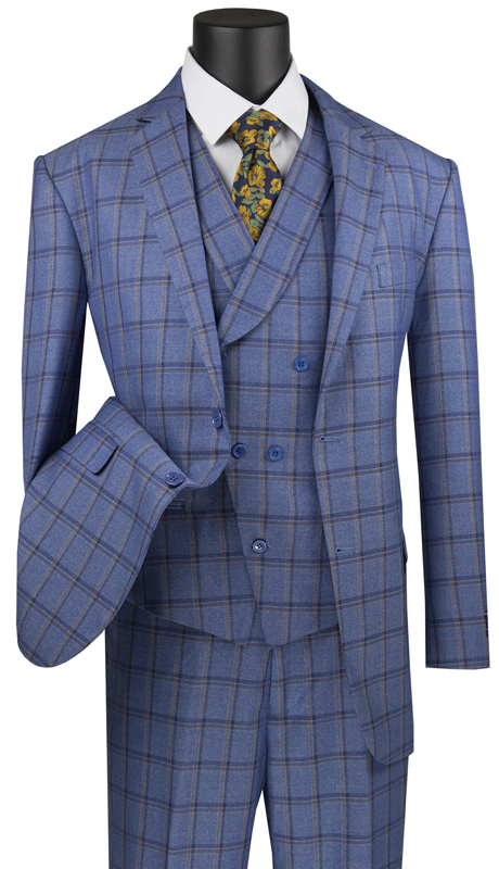 Vinci Mens Suit V2RW-12-BL ( 3pc Single Breasted 2 Buttons, With Shawl Collar Vest, Side Vents, Single Pleated Pants And Window Pane )