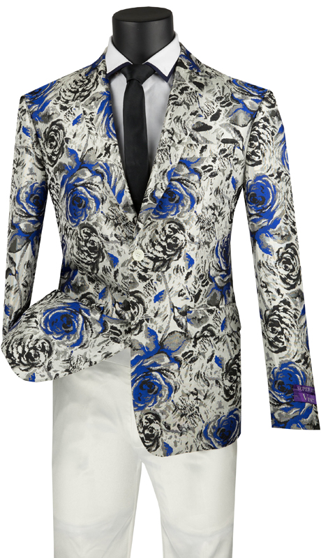 Vinci Mens Coat BSF-8-BGB ( 1pc Single Breasted 2 Button Sport Coat With Side Vents And Floral Pattern )