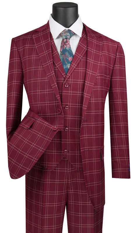 Vinci Mens Suit V2PD-1-BU ( 3pc Single Breasted 2 Buttons With Notch Collar Vest, Side Vents, Single Pleated Pants, Glen Plaid )