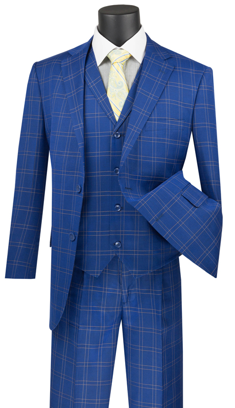 Vinci Mens Suit V2PD-1-BL ( 3pc Single Breasted 2 Buttons With Notch Collar Vest, Side Vents, Single Pleated Pants, Glen Plaid )