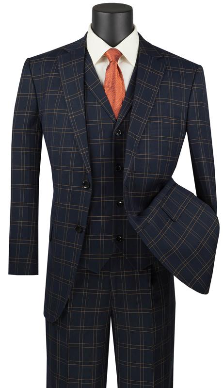 Vinci Mens Suit V2PD-1-BK ( 3pc Single Breasted 2 Buttons With Notch Collar Vest, Side Vents, Single Pleated Pants, Glen Plaid )