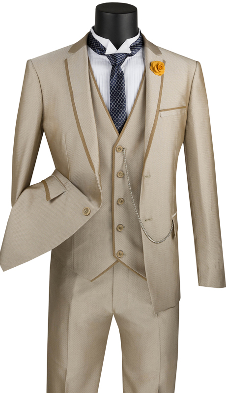 Vinci Mens Suit USVD-2-TA ( 3pc Single Breasted 2 Buttons With Trimmed Lapel, Side Vents And Flat Front Pants )