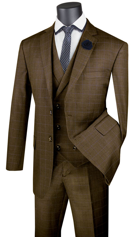 Vinci Mens Suit V2RW-13-TA ( 3pc Single Breasted 2 Button Suit With Notch Collar Vest, Side Vents And Flat Front Pants )
