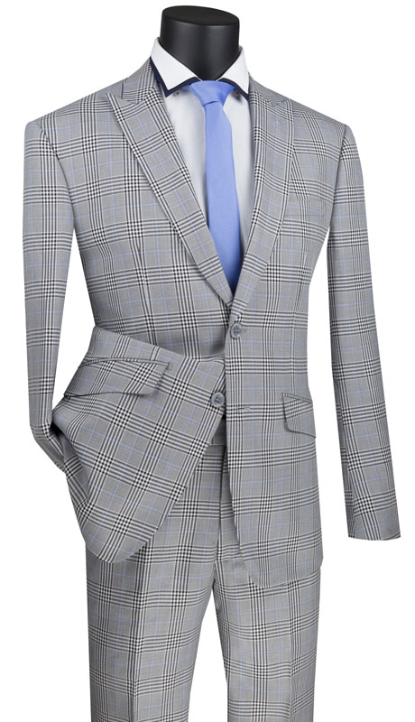 Vinci Mens Suit S2RW-1-GR ( 2pc Single Breasted 2 Button Suit, Peak Lapel And Side Vents With Flat Front Pants )