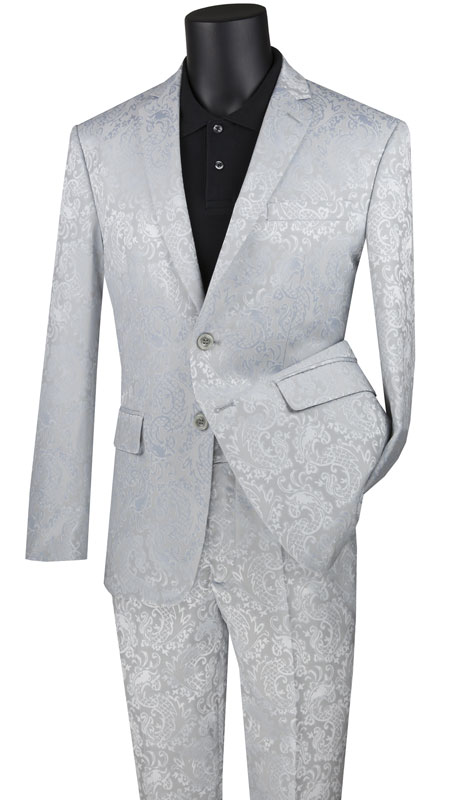 Vinci Mens Suit S2F-1-SI ( 2pc Single Breasted 2 Button Fancy Pattern Suit With Side Vents And Flat Front Pants )