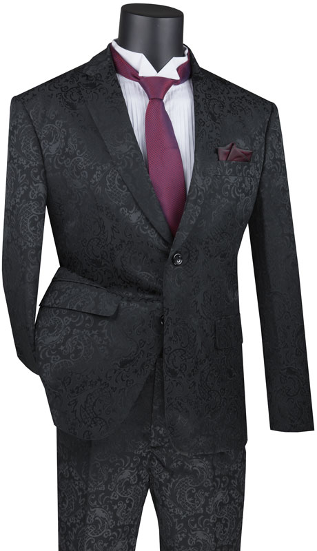Vinci Mens Suit S2F-1-BK ( 2pc Single Breasted 2 Button Fancy Pattern Suit With Side Vents And Flat Front Pants )