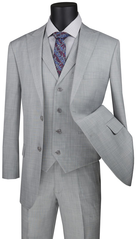 Vinci Mens Suit MV2K-1-SI ( 3pc Single Breasted 2 Button Vested Suit With Peak Lapel And Flat Front Pants )