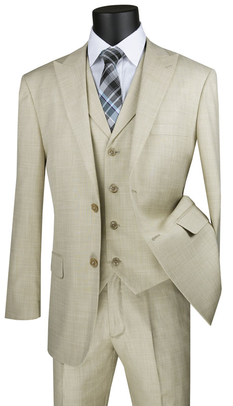 Vinci Mens Suit MV2K-1-TA ( 3pc Single Breasted 2 Button Vested Suit With Peak Lapel And Flat Front Pants )