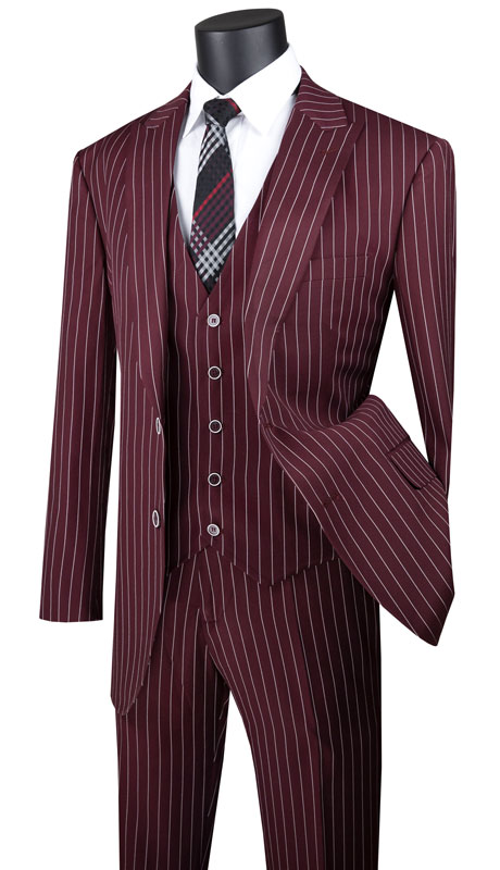 Vinci Mens Suit V2RS-9-BU ( 3pc Single Breasted 2 Button Vested Suit With Peak Lapel, Gangster Stripe, Side Vents And Flat Front Pants )