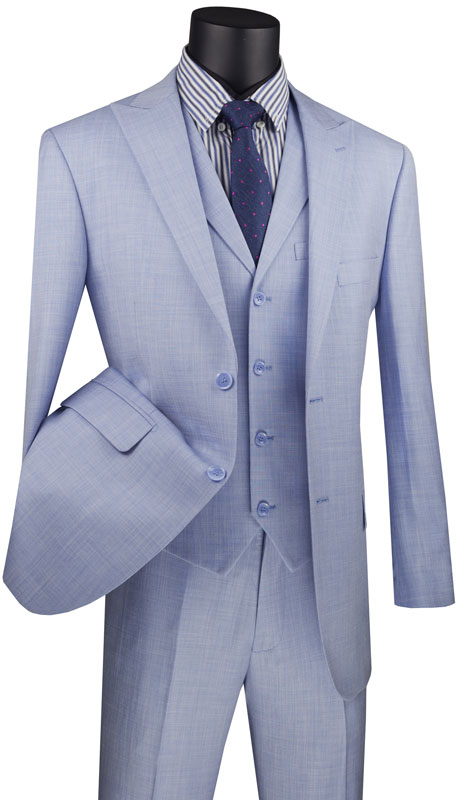 Vinci Mens Suit MV2K-1-LB ( 3pc Single Breasted 2 Button Vested Suit With Peak Lapel And Flat Front Pants )