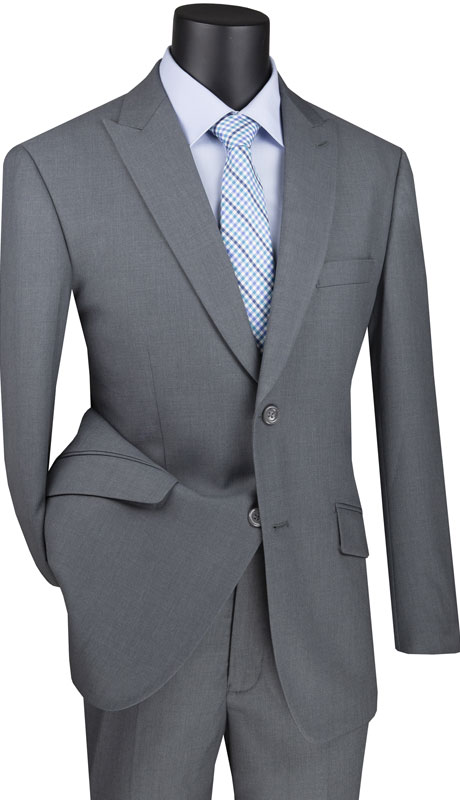 Vinci Mens Suit M2TR-GR ( 2pc Single Breasted 2 Buttons Suit With Peak Lapel And Side Vents )