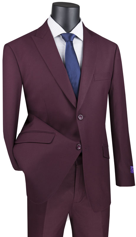 Vinci Mens Suit M2TR-MA ( 2pc Single Breasted 2 Button Suit With Peak Lapel And Side Vents )