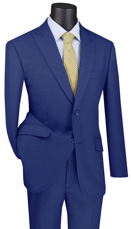 Vinci Mens Suit M2TR-BL ( 2pc Single Breasted 2 Button Suit With Peak Lapel And Side Vents )