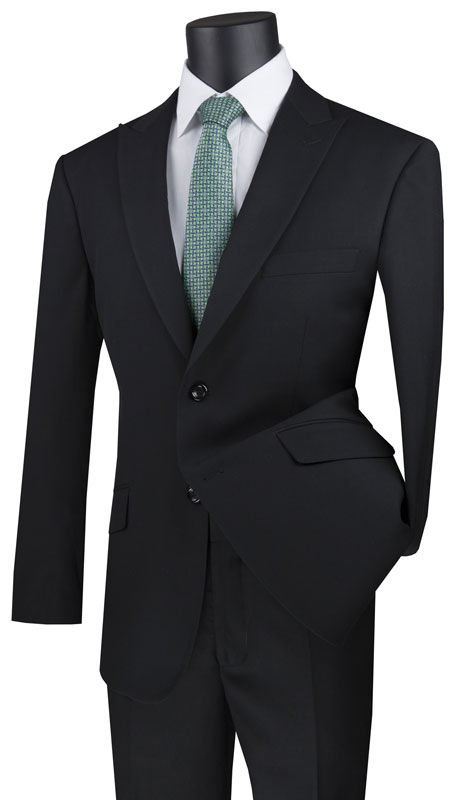 Vinci Mens Suit M2TR-BK ( 2pc Single Breasted 2 Button Suit With Peak Lapel And Side Vents )