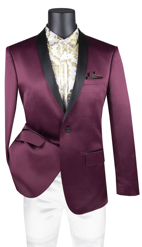 Vinci Mens Suit BST-1-WI ( 1pc Single Breasted 1 Button Sport Coat With Side Vents And Narrow Shawl Lapel )