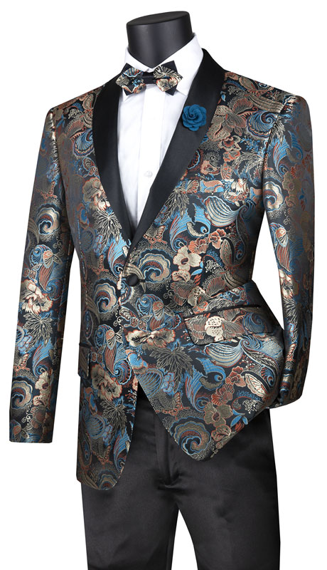 Vinci Mens Suit BSF-9-TE ( 1pc Single Breasted 2 Button Sport Coat With Fancy Pattern And Side Vents )
