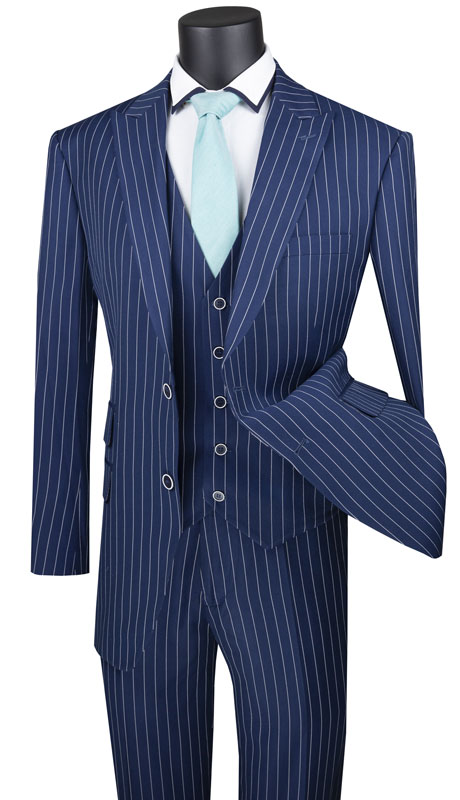 Vinci Mens Suit V2RS-9-BL ( 3pc Single Breasted 2 Button Vested Suit With Peak Lapel, Gangster Stripe, Side Vents And Flat Front Pants )