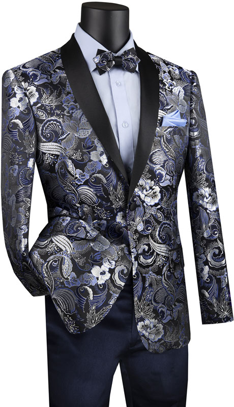 Vinci Mens Suit BSF-9-NA ( 1pc Single Breasted 2 Button Sport Coat With Fancy Pattern And Side Vents )