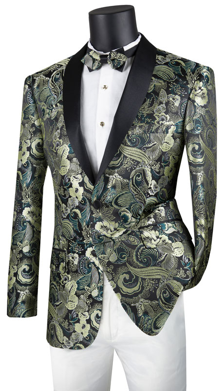 Vinci Mens Suit BSF-9-GN ( 1pc Single Breasted 2 Button Sport Coat With Fancy Pattern And Side Vents )