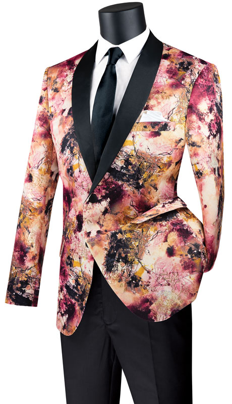 Vinci Mens Suit BSF-16-SA ( 1pc Single Breasted 2 Button Sport Coat With Side Vents And Fancy Pattern )