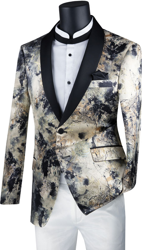 Vinci Mens Suit BSF-16-EC ( 1pc Single Breasted 2 Button Sport Coat With Side Vents And Fancy Pattern )