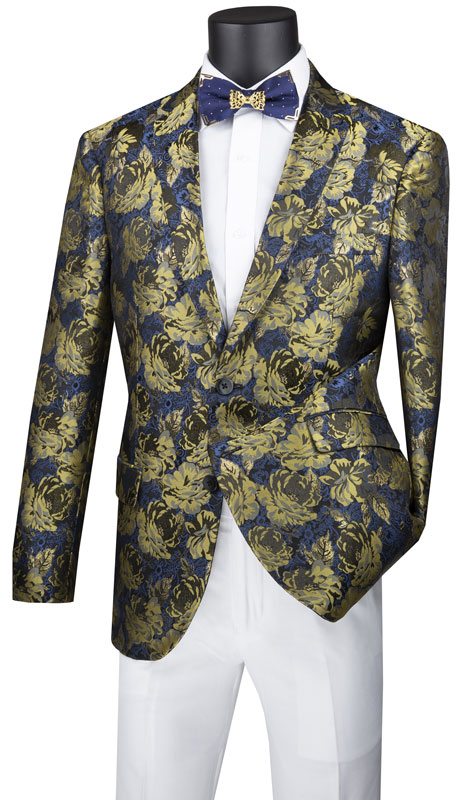 Vinci Mens Suit BSF-15-GO ( 1pc Single Breasted 2 Button Sport Coat With Side Vents And Floral Pattern )