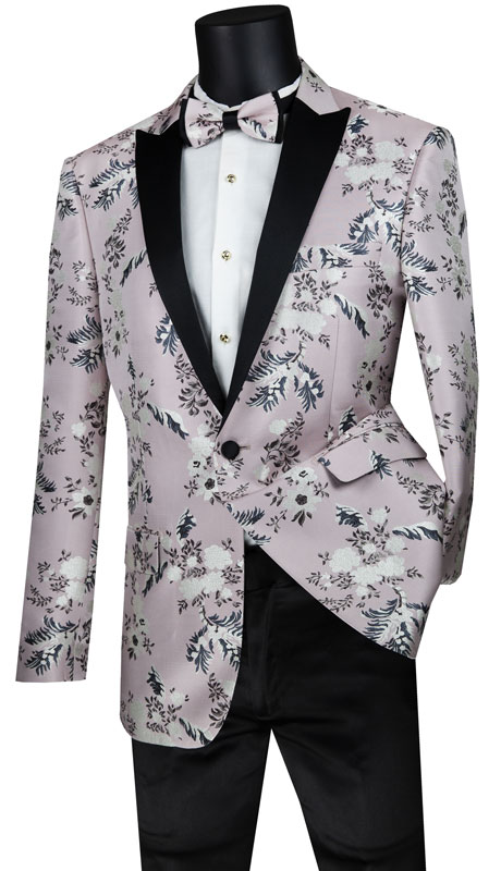 Vinci Mens Suit BSF-14-PI ( 1pc Single Breasted 1 Button Sport Coat With Side Vents And Floral Pattern )